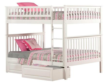 Atlantic Furniture AB5652 Woodland Bunk Bed Full Over Full With Raised Panel Bed Drawers