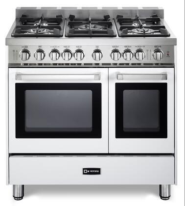 "Verona VEFSGG365NDW 36"" Gas Freestanding Range with Sealed Burner Cooktop, 2.4 cu. ft. Primary Oven Capacity, Storage in White"