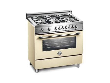 "Bertazzoni X366GGVCRLP 36"" Professional Series Gas Freestanding Range with Sealed Burner Cooktop, 3.6 cu. ft. Primary Oven Capacity, Storage in Cream"