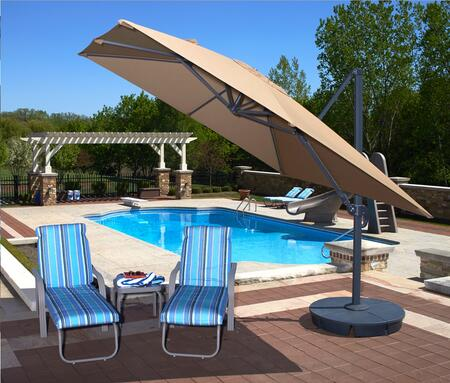 Blue Wave NU60 Santorini II 10' Square Canopy Cantilever Umbrella with a Single Wind Vent, Modern Styled Canopy, Rugged Anodized Aluminum Pole and Base: