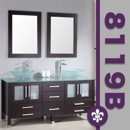 "Cambridge 8119BX 63"" Solid Wood & Glass Double Vessel Sink Vanity Set with Faucets"