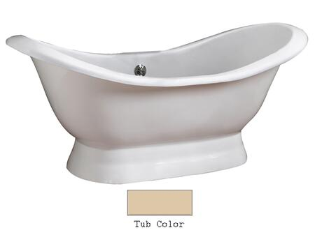 "Barclay CTDSN72B Oxnard 72"" Cast Iron Double Slipper Tub with Structured Base, in"