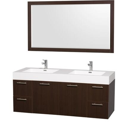 "Wyndham Collection WCR41006 Amare 60"" Wall-Mounted Double Bathroom Vanity Set with Acrylic-Resin Top, Integrated Sinks, 4 Deep Doweled Drawers and 2 Doors in"