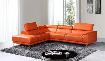 VIG Furniture VGKNK8214TOPORGLAF Divani Casa Wisteria Series Stationary Sofa