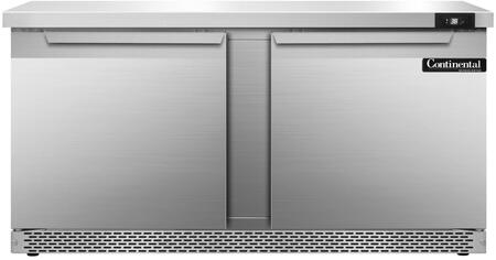 "Continental Refrigerator SW60F 60"" Worktop Refrigerator with 17 Cu. Ft. Storage Capacity, Front Breathing Compressor, Aluminum Interior, Interior Hanging Thermometer, and Environmentally-Safe Refrigerant, in Stainless Steel"