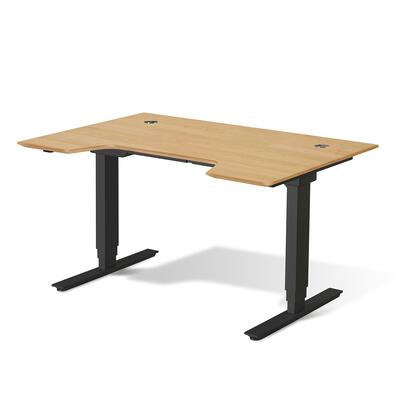 "Unique Furniture Sit Stand Collection 65"" Electric Desk with Adjustable Height, Silent Motor, Levelers, Vacuumed Sealed MDF Materials and Open Grain Finish in"