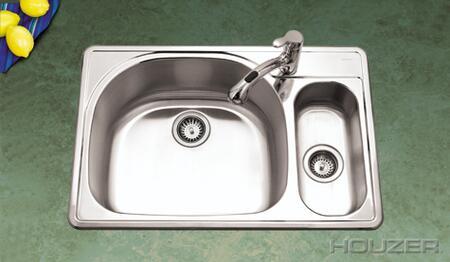 "Houzer RMG3322SX Premiere Reflection 33"" Topmount Stainless Steel 80/20 Double Bowl Kitchen Sink: Mirror Finish"