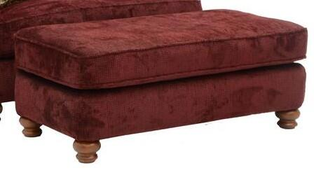 """Jackson Furniture Belmont Collection 4347-10- 51"""" Ottoman with Chenille Fabric Upholstery, Turned Bun Feet and Piped Stitching in"""