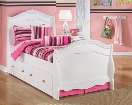 Signature Design by Ashley B188-SLTRBED Exquisite Collection Size Sleigh Bed with Trundle: White