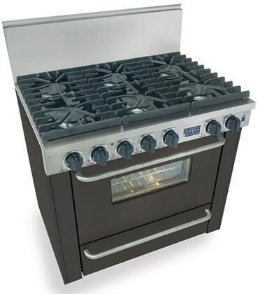 "FiveStar TPN3117W 36""  Black Gas Freestanding Range with Sealed Burner Cooktop, 3.69 cu. ft. Primary Oven Capacity, Broiler"