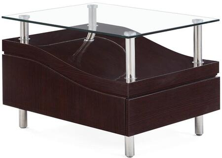 "Global Furniture USA T759XE 29"" End Table with 1 Drawer, Clear Glass Table Top, Slide Design and Polished Metal Legs in"