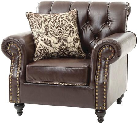 Glory Furniture G524C Faux Leather Armchair with Wood Frame in Dark Brown
