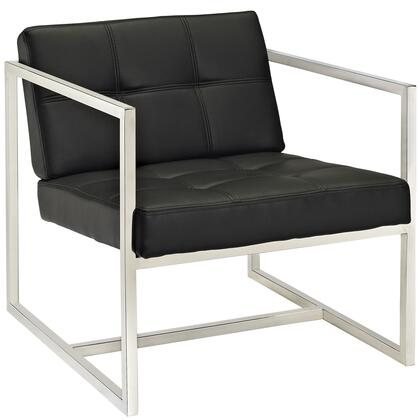 Modway EEI-263 Hover Lounge Chair with Modern Design, Stainless Steel Frame, Padded Vinyl Seat and Back with Buttons