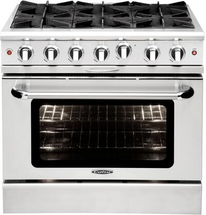 "Capital MCOR366N 36"" Culinarian Series Gas Freestanding Range with Open Burner Cooktop, 4.9 cu. ft. Primary Oven Capacity, in Stainless Steel"