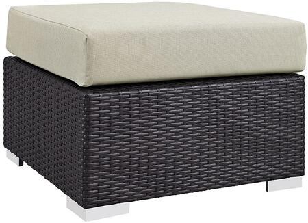 """Modway Convene Collection EEI-1911-EXP- 25"""" Outdoor Patio Square Ottoman with Fabric Cushion, Stainless Steel Legs, Powder Coated Aluminum Tube Frame, UV and Water Resistant in Espresso and"""