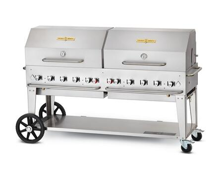 "Crown Verity CV-MCB-72X 72"" liquid propane Mobile Grill up to 159,000 BTU with Roll Dome and adjustable bun rack package in stainless steel"