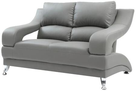 """Glory Furniture 62"""" Loveseat with Chrome Feet, Split Pub Back and Faux Leather Upholstery in"""