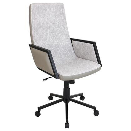 "LumiSource Governor OFC-AC-GV 41"" - 44"" Office Chair with Adjustable Height, Fabric Upholstery and PU Leather Back in"