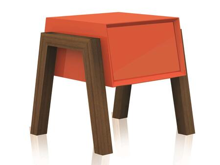 "Casabianca Figo Collection CB-3937 20"" Nightstand with 1 Drawer, MDF Construction and Walnut Veneer Legs"