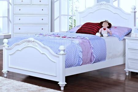 New Classic Home Furnishings 05-242-B Megan Youth Bed with Tapered Legs, Detailed Molding and Post Top, in White