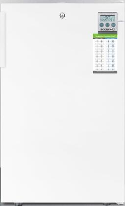 "AccuCold FS407LBIxPLUS 20"" Upright Freezer with 2.8 cu. ft. Capacity, 4 Pull-Out Storage Drawers, Reversible Door, Factory Installed Lock and Traceable Thermostat, in White"