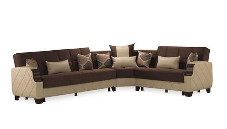 """Casamode Mobimax Collection MOLINA SECTIONAL 125"""" 3-Piece Sectional Sofa with Left Arm Facing Sofa Bed, Wedge and Right Arm Facing Convertible Loveseat in"""