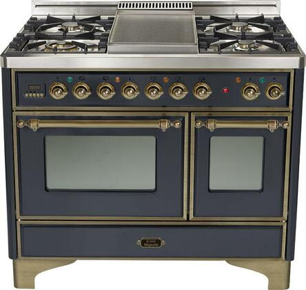 Ilve UMD100SMPMY  Dual Fuel Freestanding Range with Sealed Burner Cooktop, 2.44 cu. ft. Primary Oven Capacity, Warming in Black