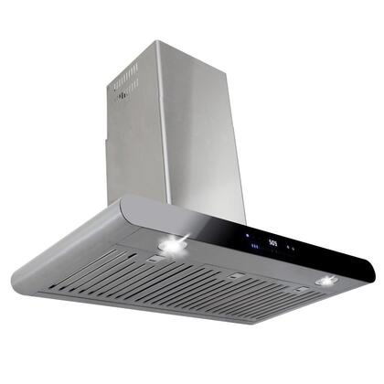 "AKDY AWR58A30 30"" Wall Mount Range Hood with with 760 CFM, 55 dB, Innovative Slide Touch, LED Display, 3 Fan Speed, Delayed Auto Shut Off, Stainless Steel Baffle Filter and X: Stainless Steel"