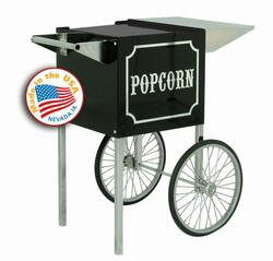Paragon 30X0820 Black & Chrome Popcorn Machine Cart with built-in storage space and storage for transportation.