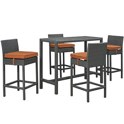 Modway Sojourn Collection EEI-1968-CHC- 5-Piece Outdoor Patio Sunbrella Pub Set with 4 Barstools and Small Rectangle Bar Table in