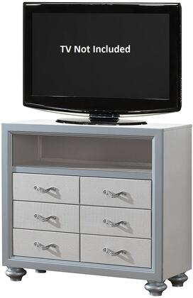 "Glory Furniture 41"" Media Chest with 4 Drawers, Open Compartment, Metal Hardware, Painted Wood Feet and Textured Finish"