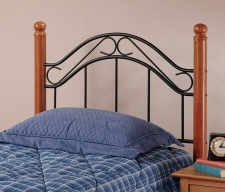 Hillsdale Furniture Winsloh Collection 164HX Size Headboard with Rounded Finials, Wood Posts and Open Metal Frame Panel in Black and Medium Oak