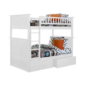 Atlantic Furniture AB5911 Nantucket Bunk Bed Twin Over Twin With Flat Panel Bed Drawers