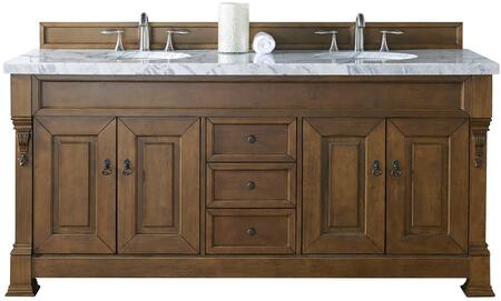 """James Martin Brookfield Collection 147-114-5771- 72"""" Country Oak Double Vanity with Four Soft Closing Doors, Three Soft Closing Drawers, Backsplash, Hand Carved Filigrees and"""