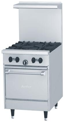 "Garland X24-4 24"" SunFire X Series Commercial Range with 145000 Total BTU, 4 Open Burners, Ergonomic Split Cast Grates, 2 Piece Backguard, Durable EasyView Knobs and Space Saver Oven in Stainless Steel"