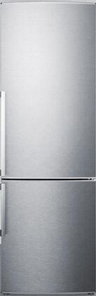"""Summit FFBF245S 24"""" FFBF Series Energy Star Counter Depth Bottom Freezer Refrigerator with 9.85 cu. ft. Capacity, Frost Free Freezer, Automatic Defrost Refrigerator and 2 Crispers, in Stainless Steel"""