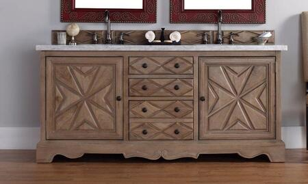 "James Martin Normandy 600V72WHOM 72"" Double Vanity with 2 Shelves, 2 Doors, 3 Drawers, 2 Sinks Included, Marble Top and Birch Construction in Weathered Oak"