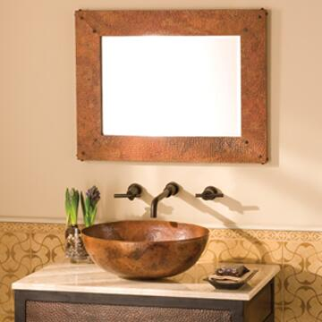 Native Trails CPM9 Tuscany Mirror with Nails forged by Hand, Beveled Edge Glass and Finished in Tempered Copper