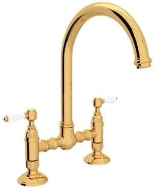 """Rohl A1461LP-2 Italian Country Kitchen Collection Deck Mounted C-Spout Bridge Kitchen Faucet with 8"""" Reach and Porcelain Levers in"""