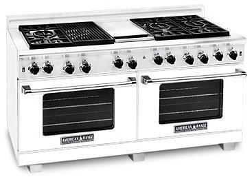 American Range ARR6062GDW Heritage Classic Series Natural Gas Freestanding Range with Sealed Burner Cooktop, 4.8 cu. ft. Primary Oven Capacity, in White