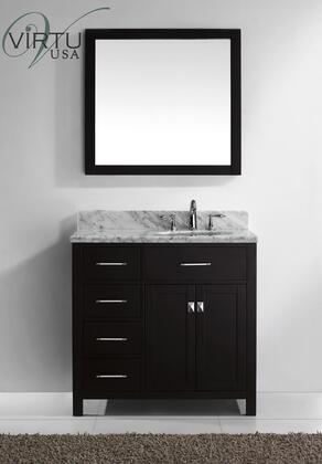 Virtu USA MS-2136 Caroline Parkway -handed Single Sink Bathroom Vanity with Italian Carrara White Marble Countertop, 1 Concealed Dividing Storage Shelf, and Designer Brushed Nickel Door Knobs