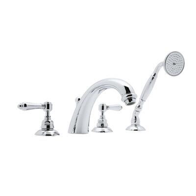 Rohl A2104LP Country Bath Collection San Julio 4-Hole Deck Mount Bath Mixer with Fixed C-Spout, Porcelain Levers, and Handshower: