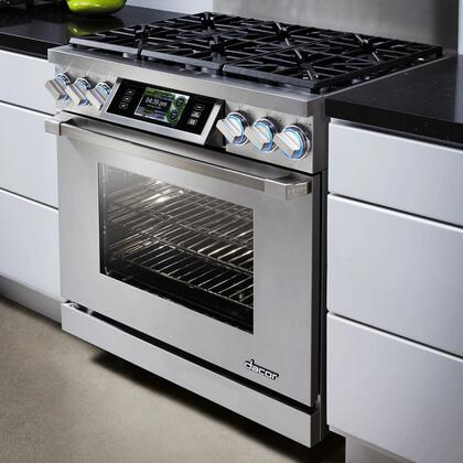"Dacor DYRP36DS 36"" Slide-In Dual Fuel Range With 5.2 cu. ft Capacity Oven, SoftShut Hinges and 18000 BTU SimmerSear Burner in"