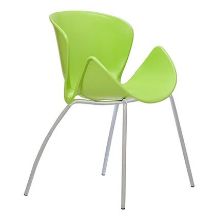 ITALMODERN L3695GRN Bloom Series Modern Not Upholstered Metal and Plastic Frame Dining Room Chair