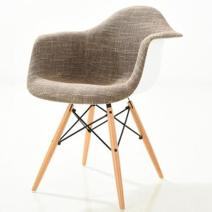 EdgeMod EM194NATTAU Vortex Series Armchair Fabric Wood and Metal Frame Accent Chair