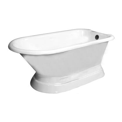 """Barclay CTR7H60BW60"""" Chadwick Cast Iron Roll Top Freestanding Tub on Base with Overflow and 7"""" Rim Holes"""
