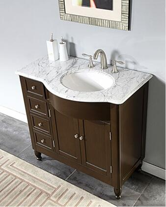 "Silkroad Exclusive HYP-0902-WM-UWC-38-X 38"" Single Sink Cabinet with 4 Drawers, 2 Doors, Carrara White Marble Top and Undermount White Ceramic Sink (3-Hole) in Espresso Finish"
