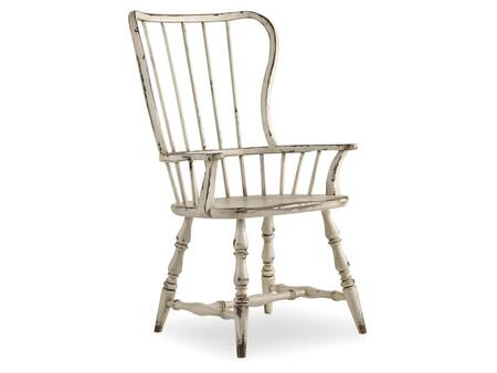 "Hooker Furniture Sanctuary Series 5403-753 43.25"" Casual-Style Dining Room Spindle Back Chair with Turned Legs, Stretchers and Distressed Detailing in Vintage Chalky White"