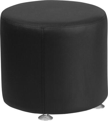 "Flash Furniture Hercules Alon Collection 18"" Ottoman with Foam Filled Cushion, Floor Glides, Round Shape, Line Stitching and LeatherSoft Upholstery in"