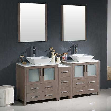 "Fresca Torino Collection FVN62-301230XX-VSL 72"" Modern Double Sink Bathroom Vanity with Side Cabinet, 2 Vessel Sinks and 4 Frosted Glass Panel Soft Closing Doors in"
